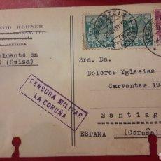 Sellos: CESURA MIOITAR CORUÑA ENVIO DESDE SUIZA ANTONIO ROHNER. Lote 156895037