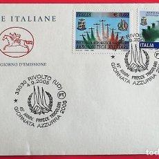 Sellos: ITALIA. AERONÁUTIVCA MILITAR-ACROBACIAS. 2005. MATASELLO: 4.9.2005 RIVOLTO.. Lote 157018956