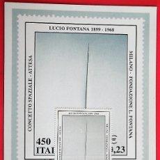Sellos: ITALIA. TM CENTENARIO NACIMIENTO LUCIO FONTANA. MATASELLO: 19.2.1099 MILÁN. Lote 157018968