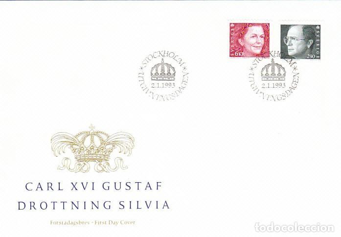 SUECIA 1736/7, LOS REYES GUSTAVO Y SOFIA, PRIMER DIA DE 2-1-1993 (Sellos - Historia Postal - Sellos otros paises)