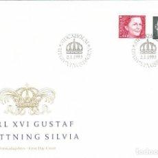 Sellos: SUECIA 1736/7, LOS REYES GUSTAVO Y SOFIA, PRIMER DIA DE 2-1-1993. Lote 164827742
