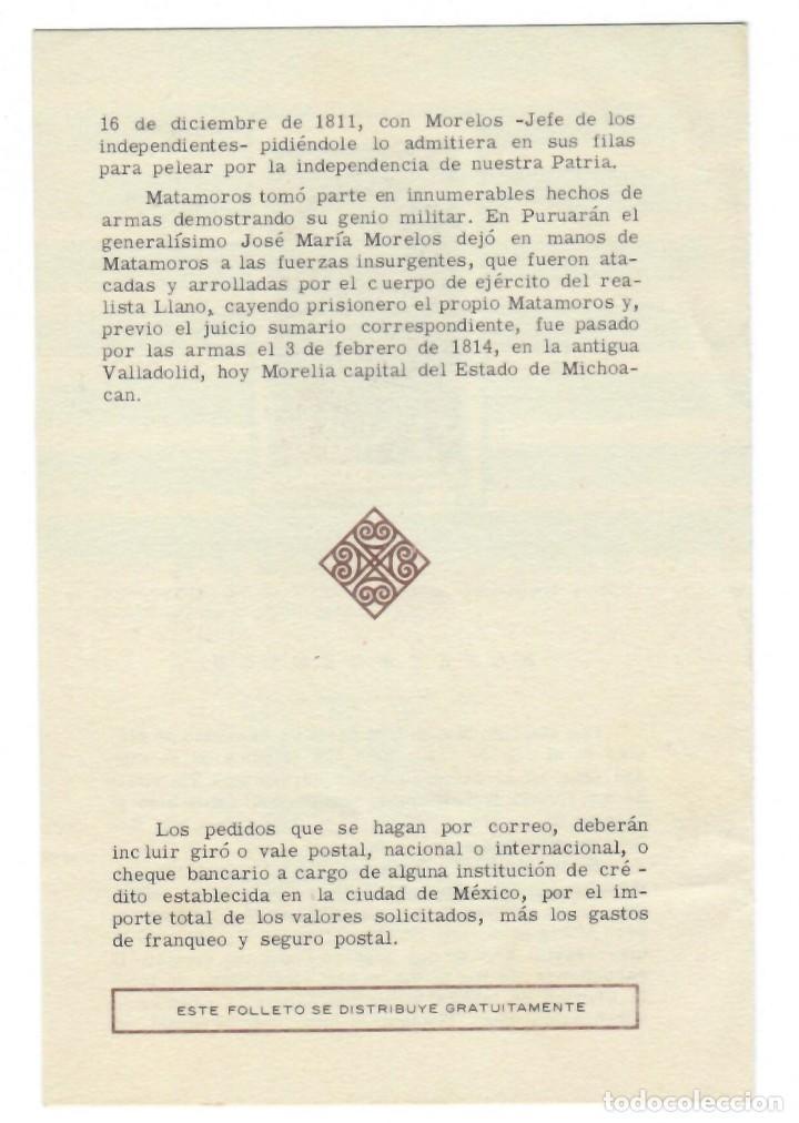 Sellos: Folleto 1971 / Bicentenario del natalicio de Mariano Matamoros - Oficina filatélica mexicana - Foto 2 - 165498078