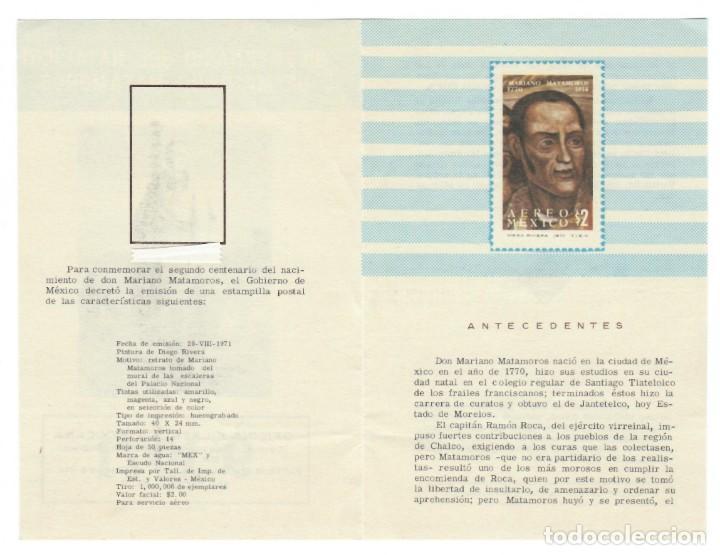 Sellos: Folleto 1971 / Bicentenario del natalicio de Mariano Matamoros - Oficina filatélica mexicana - Foto 3 - 165498078