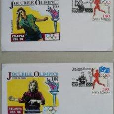 Sellos: 1996. SOBRES (2). DEPORTES. RUMANÍA. CENTENARIO JUEGOS OLÍMPICOS ETAPA MODERNA. MATASELLO JUGADOR.. Lote 167575940