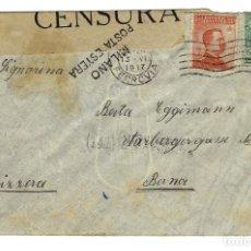 Sellos: SOBRE CARTA CIRCULADA 1917 BOLOGNA ITALIA A BERNA SUIZA MATASELLOS FERROVIA VERIFICADO CENSURA. Lote 169853484
