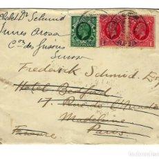Sellos: SOBRE CARTA CIRCULADA 1935 DE HAVERHILL SUFFOLK A PARÍS FRANCIA MATASELLOS D'ANJOU. Lote 169857192
