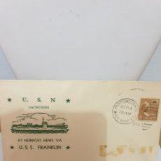 Sellos: SOBRE PRIMER DIA DE EMISION USS FRANKLIN 1943. Lote 170086864