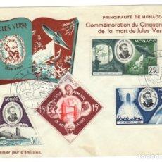 Sellos: SOBRE MÓNACO 1955: CONMEMORACIÓN DEL QUINCUAGÉSIMO ANIVERSARIO DE LA MUERTE DE JULIO VERNE. Lote 170298648