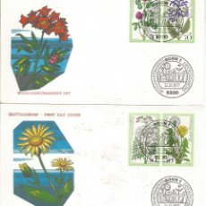 Sellos: ALEMANIA 2 FDC FLORES FLOWER 1977. Lote 173975985