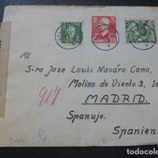 Sellos: SOBRE CIRCULADO DE SUECIA A MADRID ESCRITA EN ESPERANTO CENSURA NAZI TIRAS CENSURA GUBERNATIVA MADRI. Lote 175866270