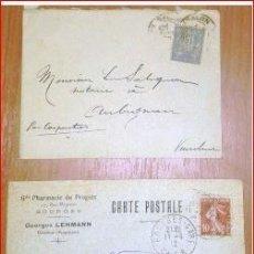 Sellos: SOBRES CIRCULADOS FRANCIA 2 CARTAS POSTAL. 1900 Y 1912 PRINCIPIO SIGLO XX. Lote 177487097
