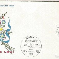 Sellos: ALEMANIA FDC BONN 1965 75 AÑOS DEL 1 DE MAYO FLORES FLOWER. Lote 179066251