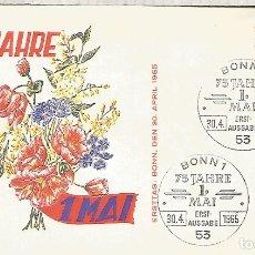 Sellos: ALEMANIA FDC BONN 1965 75 AÑOS DEL 1 DE MAYO FLORES FLOWER. Lote 179066343
