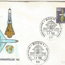 Sellos: ALEMANIA FDC BONN 1965 TRANSPORTE AVION PLANE JET. Lote 179066460