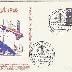 Sellos: ALEMANIA FDC BONN 1965 TRANSPORTE AVION PLANE JET. Lote 179066492