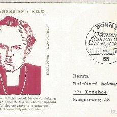Sellos: ALEMANIA FDC BONN 1966 NATHAN SÖDERBLOM RELIGION NOBEL PAZ PEACE PRIZE. Lote 179066633