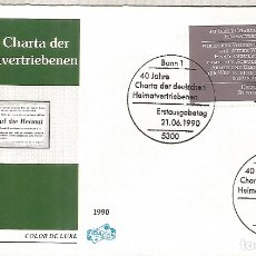 Sellos: ALEMANIA FDC BONN 1990 40 JAHRE CHARTA DER DT HEIMATVERTRIEBEN . Lote 179067190