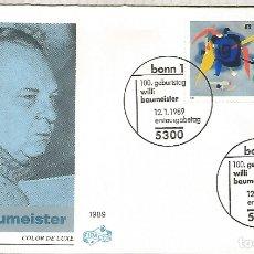 Sellos: ALEMANIA FDC BONN 1989 WILLI BAUMEISTER ARTE PINTURA FOTOGRAFIA. Lote 179067341
