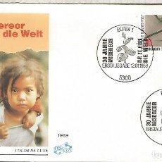 Sellos: ALEMANIA FDC BONN 1989 ALIMENTACION PAN CONTRA EL HAMBRE. Lote 179067476