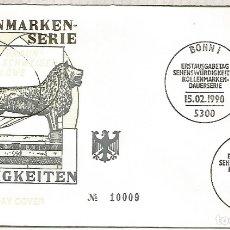 Sellos: ALEMANIA FDC BONN 1990 ARTE ESCULTURA LEON LION. Lote 179067643