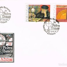 Timbres: PORTUGAL IVERT Nº 1391/2, 4º CENTENARIO DE PEDRO NUNES, MATEMATICO DEL SIGLO XVI PRIMER DIA 9-8-1978. Lote 180009075