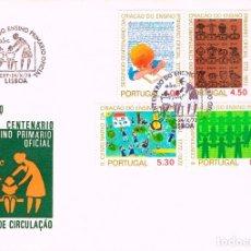 Sellos: PORTUGA IVERT 1196/9, BICENTENARIO DE LA ENSEÑANZA PRIMARIA OFICIAL, PRIMER DIA DEL 24-10-1973. Lote 180199213