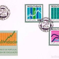 Sellos: PORTUGAL IVERT Nº 1176/8, DIA DE LA PRODUCTIVIDAD, PRIMER DIA DE 11-4-1973. Lote 180199352