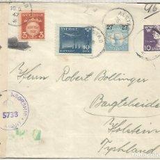 Sellos: SUECIA 1947 ALSTAD A ALEMANIA OCUPADA CON CENSURA BRITANICA. Lote 180225181