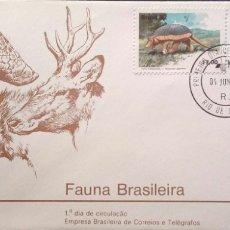 Selos: BRASIL. SPD 1540/42 ANIMALES SALVAJES: TATU CANASTRA, VEADO CAMPEIRO, LOBO GUARA. 1982. MATASELLO PR. Lote 183064093