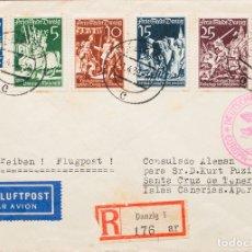 Sellos: DANTZIG. SOBRE YV 251/54, 226/27. 1939. DOS SERIES COMPLETAS (TONALIZADOS). CERTIFICADO DE DANZIG A. Lote 183161360