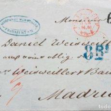 Sellos: PRUSIA, PREFILATELIA. SOBRE YV . 1861. FRANKFURT A MADRID. FECHADOR FRANKFURT, ENTRADA EN FRANCIA T. Lote 183161441