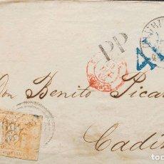 Sellos: THURN Y TAXIS. SOBRE YV 12, 16. 1862. 5 S LILA Y ½ S NARANJA (AMBOS MÁRGENES JUSTOS). FRONTAL (CON. Lote 183161746