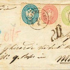 Sellos: LOMBARDÍA VENECIA. SOBRE 24(2), 25, 26. 1864. 3 S VERDE, PAREJA, 5 S ROSA Y 10 S AZUL (DOBLEZ DE AR. Lote 183165106
