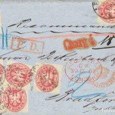 Sellos: PRUSIA. SOBRE 17(7). 1867. 1 SGR ROSA, SIETE SELLOS. CERTIFICADO DE APOLDA A BRADFORD (INGLATERRA).. Lote 183165122