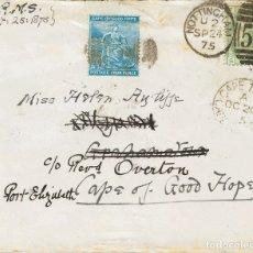 Sellos: CABO DE BUENA ESPERANZA. SOBRE 15, GB53. 1875. 1 SH VERDE DE GRAN BRETAÑA. NOTTINGHAM A GRAHAMSTOWN. Lote 183165157