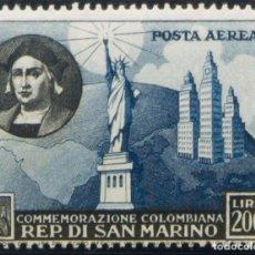 Sellos: SAN MARINO, AÉREO. MNH **YV 90. 1952. 200 L AZUL Y NEGRO (CENTRAJE DE EMISIÓN). BONITO. YVERT 2017:. Lote 183165193