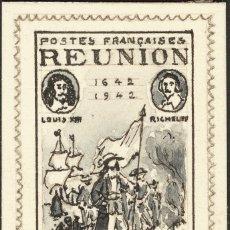 Sellos: REUNIÓN. (*)185. 1943. 10 FR NEGRO Y GRIS. PRUEBA, SOBRE PAPEL CARTÓN DEL DISEÑO DEFINITIVO REALIZA. Lote 183165292