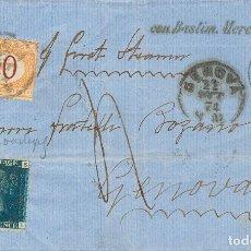 Sellos: GIBRALTAR. SOBRE GRAN BRETAÑA 27. 1874. 2 P AZUL PLANCHA 14. GIBRALTAR A GENOVA (ITALIA). MATASELLO. Lote 183165302