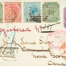 Sellos: MAURICIO. SOBRE 49, 69(2), 71. 1887. 25 CTS VIOLETA SOBRE ENTERO POSTAL (PEQUEÑO CORTE SIN IMPORTAN. Lote 183165633