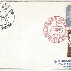 Sellos: UNION SOVIETICA CC CON MAT BASE ANTARTICA VOSTOK 1967 ANTARCTIC STATION EN ROJO RED INK. Lote 183410141