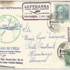 Sellos: CHILE CC PRIMER VUELO LUFTHANSA SANTIAGO FRANKFURT HAMBURG 1958 AL DORSO LLEGADA. Lote 183416322