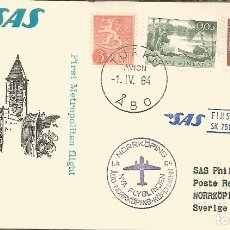 Sellos: FINLANDIA 1964 TURKU PRIMER VUELO SAS A NORRKÖPING. Lote 183417776