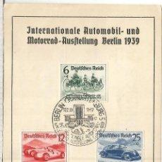 Francobolli: ALEMANIA REICH BERLIN 1939 FERIA DEL AUTOMOVIL VOLKSWAGEN . Lote 186081628