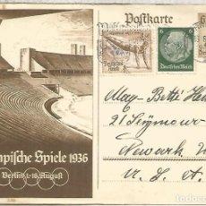 Sellos: ALEMANIA 3 REICH ENTERO POSTAL JUEGOS OLIMPICOS DE BERLIN 1936 MAT NURNBERG. Lote 187353011