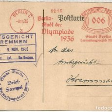 Sellos: ALEMANIA 3 REICH JUEGOS OLIMPICOS DE BERLIN 1936 FRANQUEO MECANICO METER. Lote 187369005