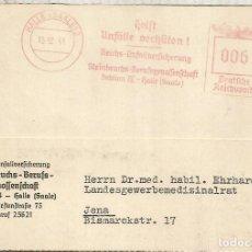 Sellos: ALEMANIA 3 REICH HALLE FRANQUEO MECANICO METER SEGURIDAD VIAL ROAD SAFETY 1941. Lote 187375392