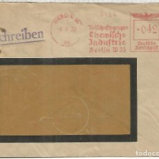 Sellos: ALEMANIA 3 REICH BERLIN 1938 CC FRANQUEO MECANICO QUIMICA CHEMICAL INDUSTRIES. Lote 187375866