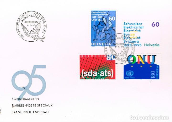 SUIZA IVERT Nº 1468/71, CENTENARIO DE LA FEDERACION DE LUCHA, DE LA ELECTRIDAD, PRIMER DIA 7-3-1995 (Sellos - Historia Postal - Sellos otros paises)