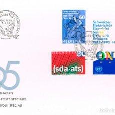 Sellos: SUIZA IVERT Nº 1468/71, CENTENARIO DE LA FEDERACION DE LUCHA, DE LA ELECTRIDAD, PRIMER DIA 7-3-1995. Lote 192477336