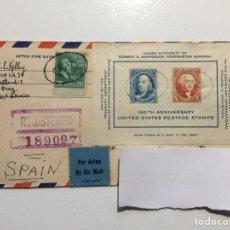Sellos: CARTA CERTIFICADA USA - A CORUÑA 1947. Lote 192591410